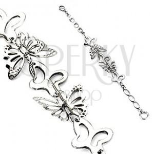 Oceľový náramok - motýliky striebornej farby