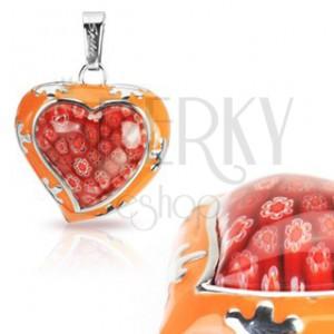Prívesok zo skla - Murano, oranžové srdce