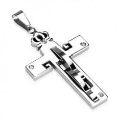 Šperky eshop - Prívesok z ocele - kríž a koruna, zirkóny R1.16