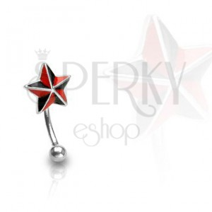 Piercing do obočia - červeno čierna hviezda