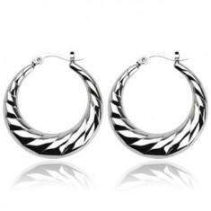 Šperky eshop - Náušnice z ocele - vrúbkované kruhy R2.20