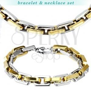 Sada náramok a náhrdelník z ocele - mohutné dvojfarebné očká