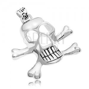 Prívesok z chirurgickej ocele - pirátska lebka, strieborná farba