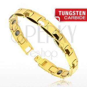 Tungstenový náramok -  H články zlatej farby