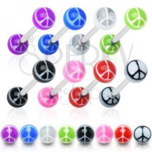 Piercing do jazyka - farebné guličky, symbol mieru