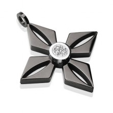 Prívesok z čiernej chirurgickej ocele - kvet s ligotavým čírym zirkónom
