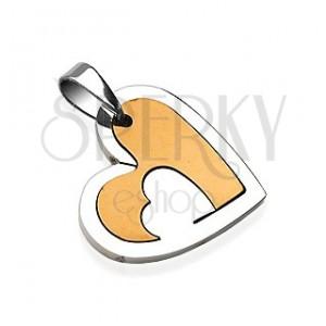 Prívesok z chirurgickej ocele srdce s výrezom zlatej farby