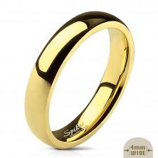 Hladká oceľová obrúčka v zlatej farbe - 4 mm