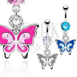 Piercing do brucha - dvojfarebný motýľ, zirkóny