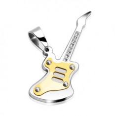 Šperky eshop - Prívesok z ocele - gitara so zirkónmi G3.19