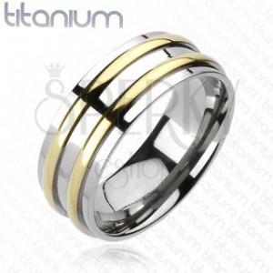 Titánová obrúčka - strieborná farba, dva pásiky zlatej farby