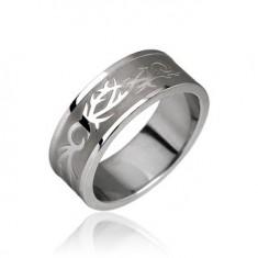 Šperky eshop - Oceľový prsteň - tribal motív F3.5 - Veľkosť: 56 mm