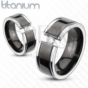Prsteň z titánu - čierny pás, zirkón