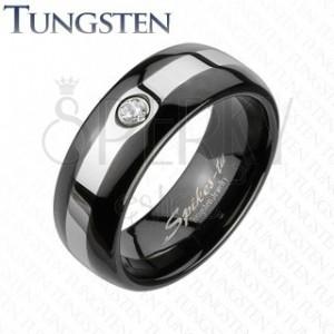 Tungstenový čierny prsteň - pás v striebornej farbe, zirkón