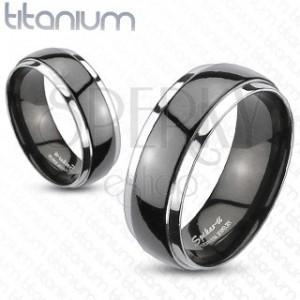 Obrúčka z titánu - čierno strieborná farba