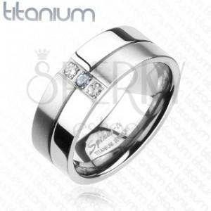 Titánový prsteň - lesklé a matné prúžky, zirkóny
