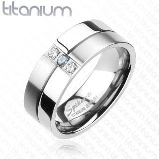 Titánový prsteň - lesklé a matné prúžky, zirkóny - Veľkosť: 62 mm