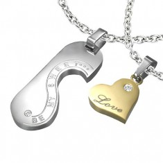 Šperky eshop - Oceľový prívesok - známka a srdce LOVE pre dvojicu R5.5 e8f53c8e5a1