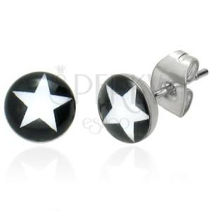 Okrúhle náušnice - biela hviezda