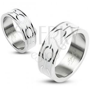 Oceľový prsteň - biely stred s elipsami