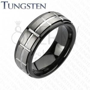 Tungstenový brúsený prsteň, čierne okraje