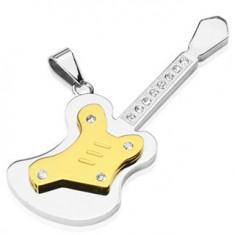 Šperky eshop - Prívesok z ocele - veľká gitara so zirkónmi G4.2