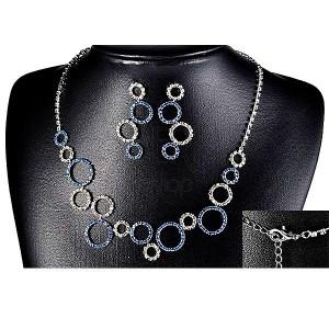 Set náhrdelník a náušnice - číre a modré kamienkové kruhy