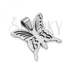 Prívesok z chirurgickej ocele - motýľ striebornej farby
