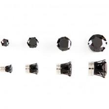 Magnetické náušničky - čierny zirkón
