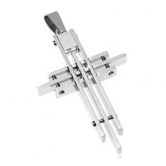 Šperky eshop - Prívesok z chirurgickej ocele, kríž poskladaný z tenkých hranolov G6.9