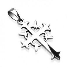 Šperky eshop - Prívesok z ocele kríž s kruhom G5.9