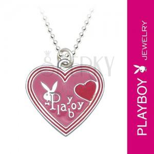 Náhrdelník PLAYBOY - ružové glazúrované srdiečko so zajačikom