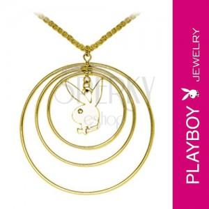 Náhrdelník Playboy - tri kruhy a zajačik s kamienkom