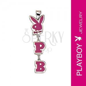Prívesok Playboy - zajačik, iniciály P a B, ružový