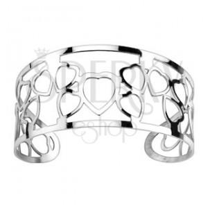 Vyrezávaný náramok z ocele - vzor srdcia