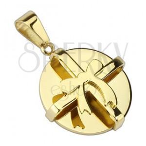 Oceľový prívesok - okrúhly balíček s mašľou zlatej farby