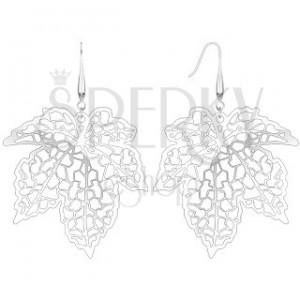 Náušnice - vyrezávaný javorový list