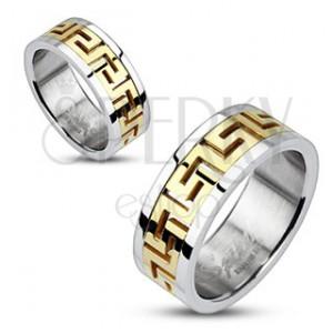 Oceľový prsteň striebornej farby - vsadený grécky motív zlatej farby