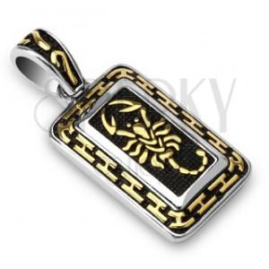Oceľový prívesok - škorpión zlatej farby, patinovaný