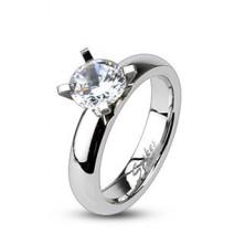 Zásnubný prsteň z ocele - vystupujúci veľký okrúhly zirkón