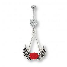 Piercing bruška anjelské krídla a červená ruža