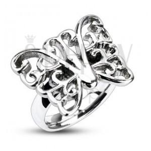 Prsteň z ocele - veľký zdobený motýľ