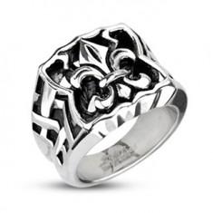 Šperky eshop - Oceľový pečatný prsteň - Fleur de Lis F5.10 - Veľkosť: 59 mm
