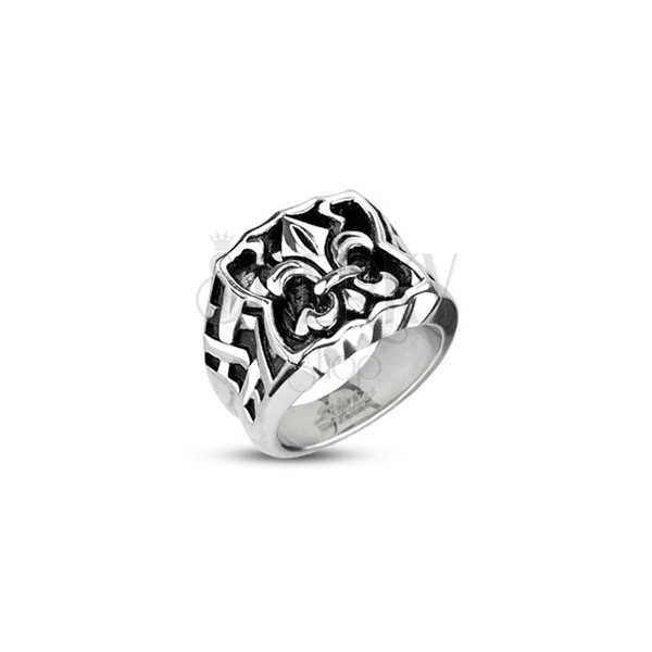 Oceľový pečatný prsteň - Fleur de Lis