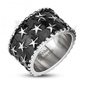 Pánsky oceľový prsteň - hviezdy na čiernom podklade