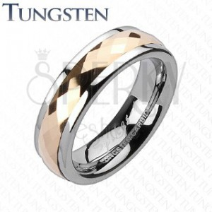 Tungstenová obrúčka - otáčavý stredový pás ružovozlatej farby