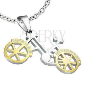 Prívesok - bicykel strieborno-zlatej farby, drobné zirkóny