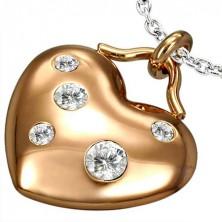 Prívesok z ocele tvar srdce so zirkónmi, bronzová farba