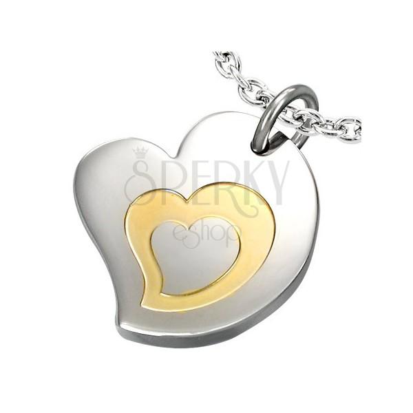 Dvojfarebný prívesok z chirurgickej ocele, motív - trojité srdce