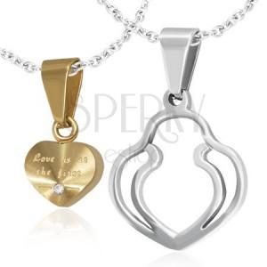 Prívesky pre dvojicu - zlaté srdce, dvojitý obrys srdca, zirkón